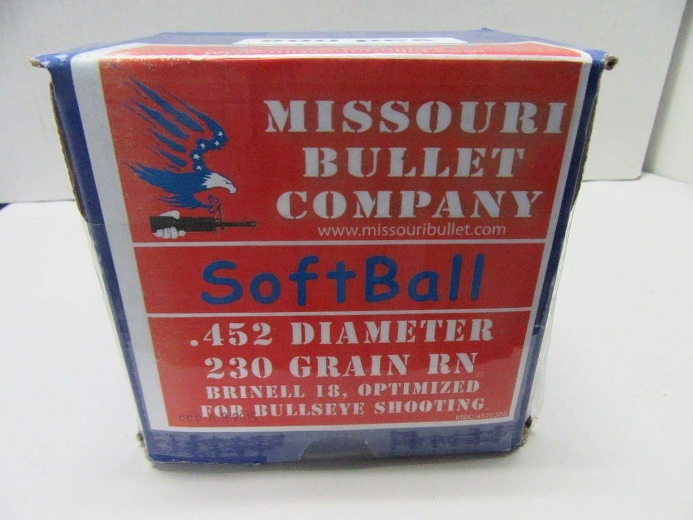 Missouri Bullet Co - 45 Cal (.452) LEAD 230gr RN SOFTBALL 500/Box