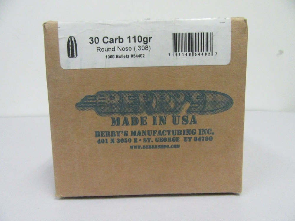 Berry's - 30M1 CARBINE (.308) 110gr RN BULLET 1000/Box