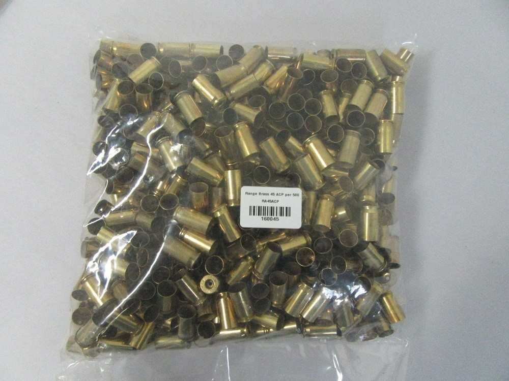1fired45acp - 1 Fired Polished 45acp brass 500 Cases