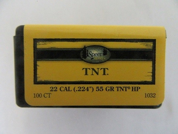 Speer 22cal ( 224) 55gr TNT-HP BULLET 100/Box